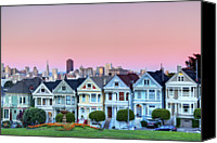 San Francisco Photo Canvas Prints - Painted Ladies At Dusk Canvas Print by Photo by Jim Boud