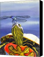 Dragonfly Canvas Prints - Painted Turtle and Dragonfly Canvas Print by Catherine G McElroy