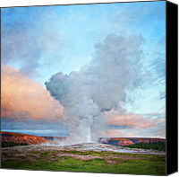 Solstice Canvas Prints - Painterly Old Faithful, Yellowstone National Park Canvas Print by Trina Dopp Photography