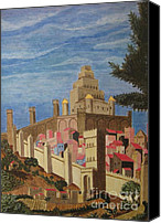 Egg Tempera Painting Canvas Prints - Painting   Medieval City Canvas Print by Judy Via-Wolff