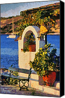Trip Canvas Prints - Painting details at Agia Marina town Canvas Print by George Atsametakis