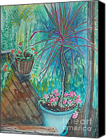 Potted Plants Painting Canvas Prints - Painting Life Blooms on the Deck Canvas Print by Judy Via-Wolff
