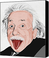 Art Education Canvas Prints - Painting Of Albert Einstein Canvas Print by Setsiri Silapasuwanchai