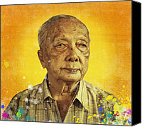 Compassion Canvas Prints - Painting Of Old Man Canvas Print by Setsiri Silapasuwanchai