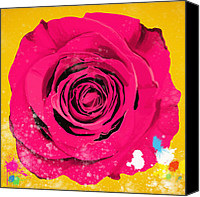 Sensual Digital Art Canvas Prints - Painting Of Single Rose Canvas Print by Setsiri Silapasuwanchai