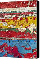 Peeling Canvas Prints - Painting peeling wall Canvas Print by Garry Gay