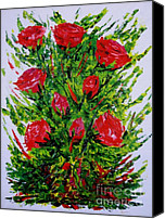 Still Life Tapestries Textiles Special Promotions - Painting with Knife of Red Roses  Canvas Print by Mario  Perez