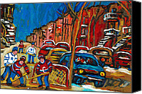 Hockey In Montreal Painting Canvas Prints - Paintings Of Montreal Hockey City Scenes Canvas Print by Carole Spandau
