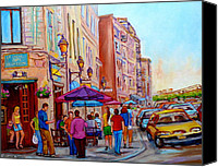 City Canvas Prints - Paintings Of Old Montreal Streets La Creme De La Creme Cafe Canvas Print by Carole Spandau