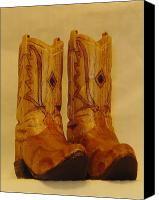 Woodcarving Sculpture Canvas Prints - Pair of Cowboy Boots Canvas Print by Russell Ellingsworth