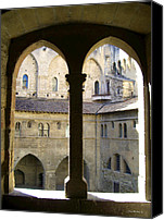 Court Yard Canvas Prints - Palais des Papes View Canvas Print by Joan  Minchak