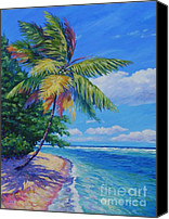 Cuba Painting Canvas Prints - Palm at the Waters Edge Canvas Print by John Clark