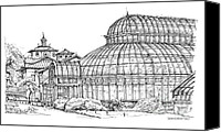 Landscapes Drawings Canvas Prints - Palm House in Brooklyn Botanic Gardens Canvas Print by Lee-Ann Adendorff