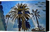 Palm Trees Mixed Media Canvas Prints - Palm Mural Canvas Print by Gwyn Newcombe