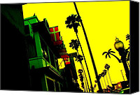 Flags Special Promotions - Palm Tree Lane Canvas Print by Corey Maki