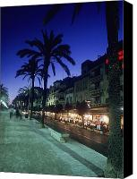 Sitges Canvas Prints - Palm Tree Lined Promenade With People Canvas Print by Axiom Photographic