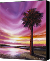 Crescent Moon Canvas Prints - Palmetto Moon Canvas Print by James Christopher Hill