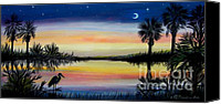 Wet Pastels Canvas Prints - Palmetto Tree and Moon Low Country Sunset Canvas Print by Patricia L Davidson