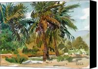 Plein Canvas Prints - Palms in Key West Canvas Print by Donald Maier