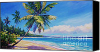Cuba Painting Canvas Prints - Palms on Tortola Canvas Print by John Clark