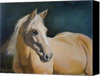 Horse Portrait  Canvas Prints - Palomino on blue Canvas Print by Mary Leslie