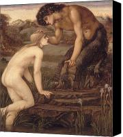 Mythological Canvas Prints - Pan and Psyche Canvas Print by Sir Edward Burne-Jones