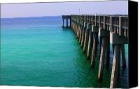 Panama City Beach Photo Canvas Prints - Panama City Beach pier Canvas Print by Toni Hopper