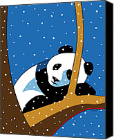 Asia Digital Art Canvas Prints - Panda at Peace Canvas Print by Ron Magnes