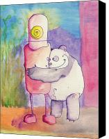 Jonathan Arras Canvas Prints - Panda Loves Robot - Robot Feels Nothing Canvas Print by Jonathan Arras