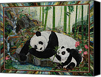 Greeting Cards Tapestries - Textiles Canvas Prints - Panda Perfect Canvas Print by Kathy McNeil