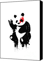 Black Digital Art Canvas Prints - Panda Rocks Canvas Print by Budi Satria Kwan