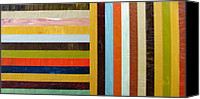 Rainbow Tapestries Textiles Canvas Prints - Panel Abstract l Canvas Print by Michelle Calkins