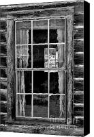 Cabin Window Canvas Prints - Panes to The Past Canvas Print by Sandra Bronstein