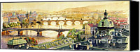 Vltava Canvas Prints - Panorama Prague Briges Canvas Print by Yuriy  Shevchuk
