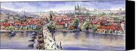 Watercolour Canvas Prints - Panorama with Vltava river Charles Bridge and Prague Castle St Vit Canvas Print by Yuriy  Shevchuk
