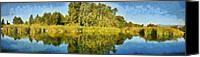 Flora Canvas Prints - Panoramic painting of ducks lake Canvas Print by George Atsametakis