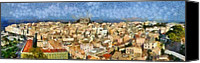 Houses Canvas Prints - Panoramic painting of the old city of Corfu Canvas Print by George Atsametakis