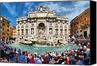 Panoramic Canvas Prints - Panoramic view of Fontana di Trevi in Rome Canvas Print by George Atsametakis