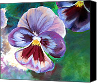 Still Life Pastels Canvas Prints - Pansies 02 Canvas Print by Sue Gardner