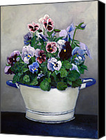 Blue Canvas Prints - Pansies Canvas Print by Enzie Shahmiri