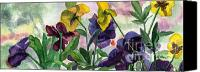 Pretty Painting Canvas Prints - Pansy Field Canvas Print by Lynne Reichhart