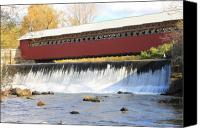 Vermont Autumn Foliage Canvas Prints - Paper Mill Covered Bridge and Falls Bennington VT Canvas Print by John Burk