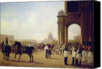Parade Painting Canvas Prints - Parade at the Palace Square in Saint Petersburg Canvas Print by Adolphe Ladurner