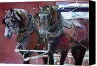 Milwaukee Parade  Pastels Canvas Prints - Parade Horses  Canvas Print by Leonor Thornton