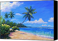 Cuba Painting Canvas Prints - Paradise palms Canvas Print by John Clark