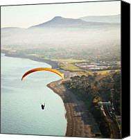 Irish Canvas Prints - Paragliding Off Killiney Hill Canvas Print by David Soanes Photography