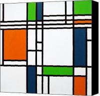 Stretched Canvas Prints - Parallel Lines Composition with Blue Green and Orange in Opposition Canvas Print by Oliver Johnston
