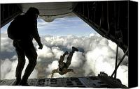 Aircraft Photo Canvas Prints - Pararescuemen Jump Out The Back Canvas Print by Stocktrek Images