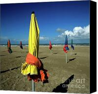 Umbrellas Canvas Prints - Parasols of Deauville Canvas Print by Bernard Jaubert