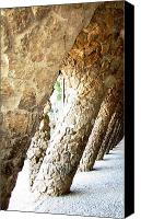 Parc Guell Canvas Prints - Parc Guell Tilted Stone Columns II by Gaudi Barcelona Spain Canvas Print by John A Shiron